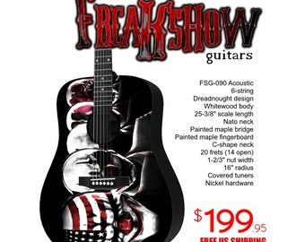 Graphic Acoustic Guitar PURGE Design by FreakshowGuitars - FREE SHIPPING