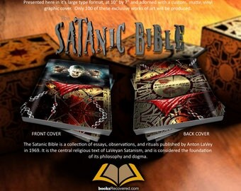 The Satanic Bible - Anton LaVey - HELLRAISER Design by BooksRecovered FREE SHIPPING