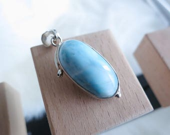 Handmade Oblong Shape Genuine Dominican Republic Larimar Sterling Silver Pendant