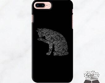 iPhone 7 Plus Case, iPhone 7 Case, iPhone 6s Case, Samsung Galaxy S7 case, Samsung Galaxy S8 Case, Rubber Case Tough Case, Black Damask Cat