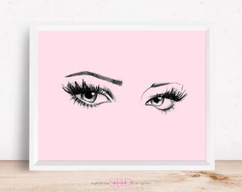 Pink Eyes Mascara Eyelashes Digital Design Poster Wall Art Decor Download JPEG