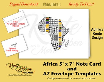 DIY - Africa 5x7 Note Card Template - Adinkra Kente Design - ZIP File Download - Optional Inside Wording - Free A7 Envelope Template