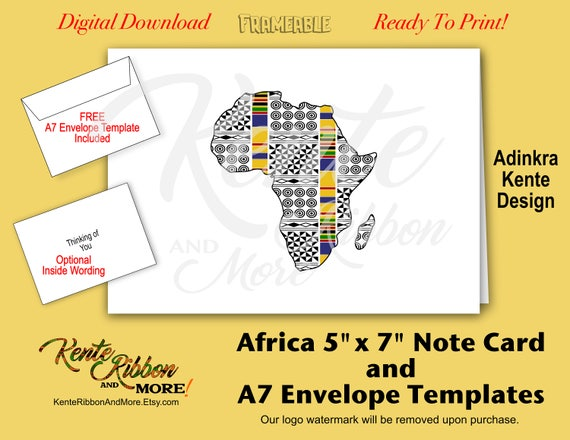 Diy africa 5x7 note card template adinkra kente design for 5 by 7 notecard template