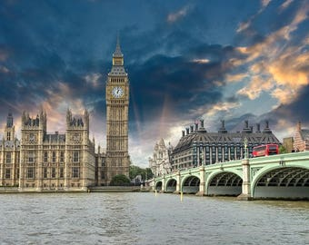 Parliament in London canvas, Printed on Canvas, City skyline, Large London Print, London wall art, Canvas gifts, art