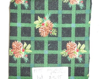 Fabric -1yd piece-Christmas/Xmas/Winter-Green Plaid/Pinecones (#195) -Spectrix