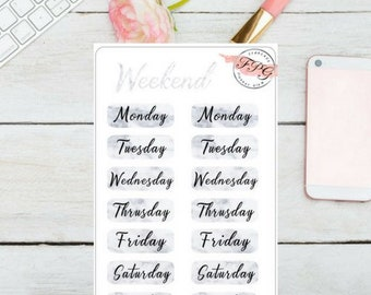 Weekday Marble Header Sticker for your planner
