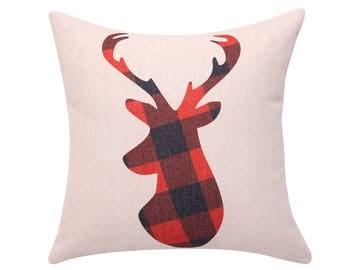 Christmas pillow cover moose/Elk/Deer pillow cases Red buffalo check pillow  covers Holiday Decorative farmhouse  throw pillow cover 18x18