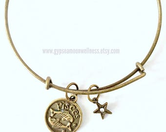 Intuitive Pisces Zodiac Sign Bronze Adjustable Bangle Double Sided Charm Bracelet Astrology Star Signs Handmade Jewelry Free Shipping