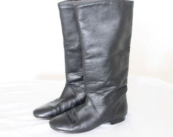 Harness Black Distressed Cowgirl Biker Rocker Motorcycle Riding Wom. Us 6.5, Eur 37,Uk 4 Black leather riding boots Knee High Boots