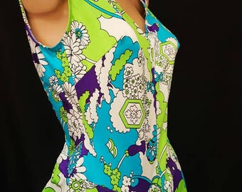 Vintage 60s ROBBY LEN Fashions Flower Power Summer of Love Psychedelic Mod Floral Swimsuit Bathing Suit M NWT