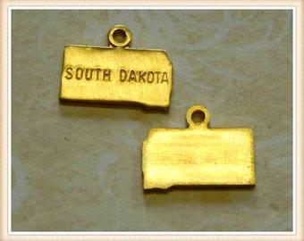 South Dakota 12 pcs raw brass state charm SD