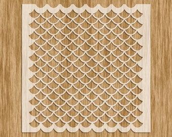 """Fish Scale EXTRA Small Pattern Stencil MINI SERIES - Sku AP0108M (5.5"""" x 5.5"""")"""