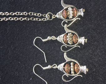 Silver teapot earrings and necklace set