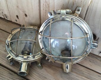 Bulkhead lights reclaimed cast brass maritime lamps ship nautical vintage industrial look home decor fitted with clear glass - ideal gift