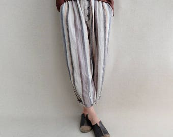 Women Stripe Pants Loose Harem Pants Cotton Elastic Waist Pants Linen Casual Comfortable Pants