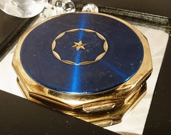 Blue enamel and gold tone star 1950's Stratton compact, 50's Stratton powder compact, blue 50's Stratton