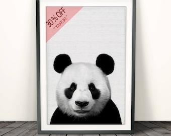 Panda Print, Nursery Wall Art Decor, Black and White Animal, Printable Poster, Kids Room, Digital Download, Modern Minimalist, Photo