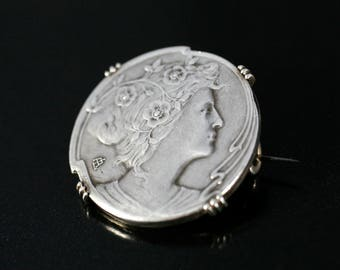 Antique Art Nouveau Sterling Silver Brooch, Woman and Roses , Signed, handmade