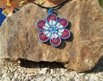 Blue, white and Pink Flower necklace made of quilling