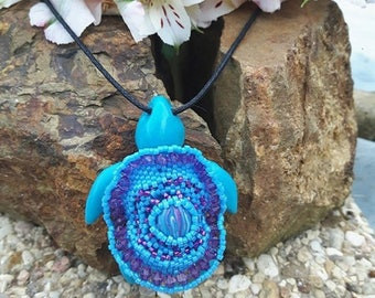 Mexican blue sea turtle necklace