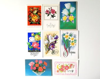 Russian March 8 Greeting Card:Unused Soviet Double Postcard- International Women's Day Postcard- Old Card Mothers Day with Spring Sweetbrier