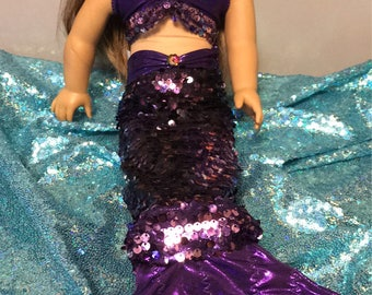 Purple Mermaid Outfit for 18 inch dolls