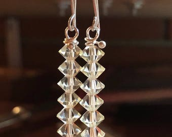 Earrings in silver and crystals