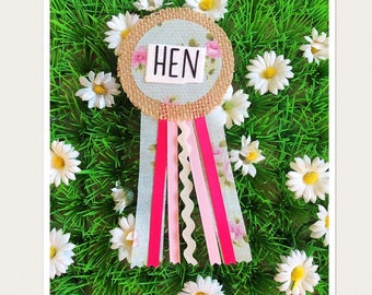 Hen Party Ribbon Rosette Badge