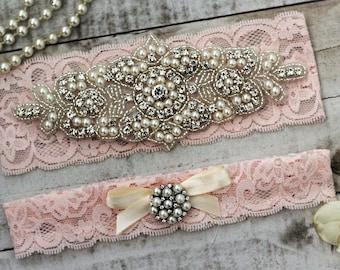 Pink Pearl Bridal Garter Set NO SLIP grip vintage rhinestones, pearl and rhinestone garter set