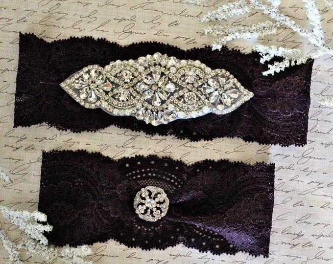 Plum Bridal Garter Set NO SLIP grip vintage rhinestones pearl lace rhinestone