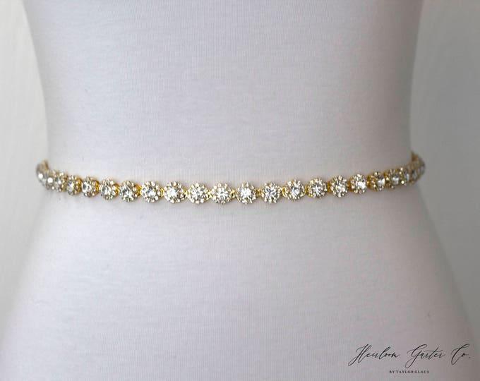 Gold Dainty Rhinestone Belt, Crystal Bridal Belt, Bridal Sash, Wedding Belt, Wedding Sash Rhinestone Sash