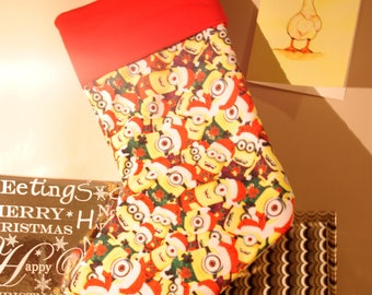 Minions Christmas Stocking with Red Ribbon
