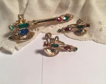 Vintage Coro Ceremonial Axe Brooch & Screw back Earring Set