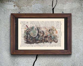 Print - PASQUINI - CITY LIFE - antique book page