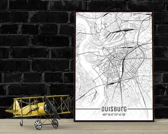 Duisburg-Just a map-din A4/A3-Print