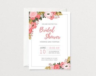 Floral Bridal Shower Invitation | Pink Floral Shower Invitation | Floral Invitation | Customized Printable Invitation