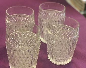 Indiana Clear Glass Diamond Point Low Ball Glasses.