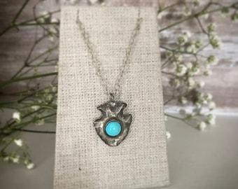 turquoise, silver, handmade arrowhead necklace