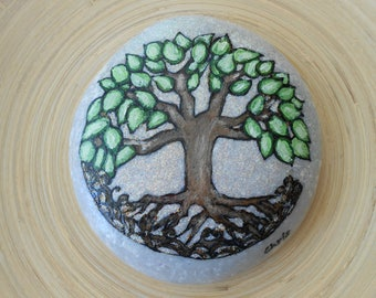 Hand Painted Stones,Home Decor,Painted Rock, Pebble,Acrylic, Tree of Life, Summer Garden Decoration