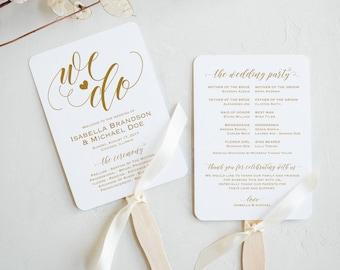 Gold Wedding Program FAN PDF template, instant download editable printable, Ceremony order card, fan, WPC_1157