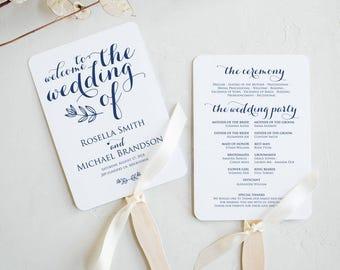 Navy Blue Rustic Wedding Program Fan Template, Kraft Program Templates, Printable Instant Download, Fan Download, Program PDF, WPC_1164