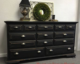 Gorgeous Black Dresser or Media Center Farmhouse Farm House Classic Rustic Style