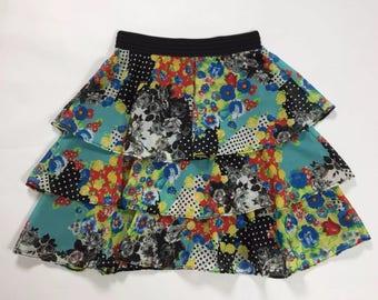 Le vie en rose floral summer skirt skirt skirt sz L 44 used T1968 flap