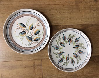 "Pair 2 Mid Century Denby Glynware , Glyn Colledge, Stoneware Pottery 12"" Plates - stylised leaves"