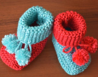 Red Christmas baby booties, Unisex booties, Gender baby booties, Photo prop, Baby shower, Newborn 0-3 3-6,Baby shoes,Newborn boots,Baby gift