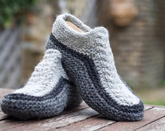 Knitted Slippers Socks Pure Shetland wool Grey Chunky Super Warm Comfortable Unisex Women Men Knitted gift