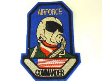 AIRFORCE COMMANDER USAF Pilot Blue Sew on or Iron on Patch - H528