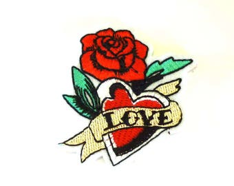 LOVE Heart and Red Rose Iron on or Sew on Patch - H532
