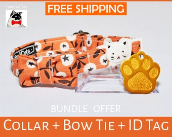 Halloween gift bundle 'White Berry' cat id tag + breakaway collar + bow tie and bell - kitten collar - cat collar - thanksgiving gift