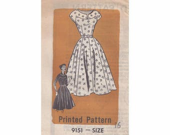 1950s Weekly Star Farmer 9151 Misses One Piece Dress Vintage Pattern Size 16